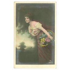 Vintage German Tinted Photo Birthday Postcard of Lady with Flowers