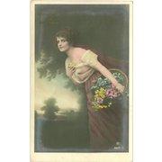 Vintage German Tinted Photo Postcard of Lady with Flowers - Birthday