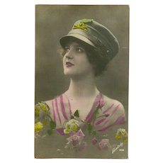 Vintage Tinted Photo Postcard of Lady with Military Hat and Roses