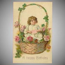 Vintage Embossed Happy Birthday Postcard - Young Girl in Basket of Flowers