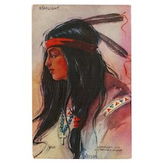 Native American Indian Maiden Starlight Embossed Postcard 1908 - Red Tag Sale Item