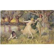 Artist Signed Thomas Maybank Postcard of A Fairy Dance