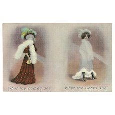 Bamforth British Postcard of What Ladies See and What Gents See - Red Tag Sale Item