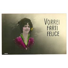 Fotocelere Tinted Italian Postcard of Dark Haired Lady
