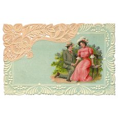 Embossed German Romantic Postcard Resembling Lace - Red Tag Sale Item