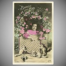 French Tinted Postcard of Young Girl with Kittens