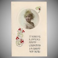 Vintage Christmas Tinted Photo Postcard by Davidson Brothers