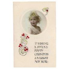 Vintage Christmas Tinted Photo Postcard by Davidson Brothers