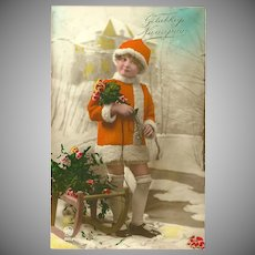 Tinted Photo Postcard of Girl with Sled - Happy New Year