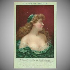 Vintage Advertising Postcard for Lait Larola Skin Care with Beautiful Woman