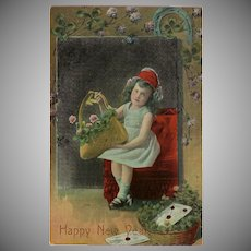 Vintage Glossy Postcard with Young Girl - Happy New Year