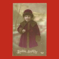 Vintage French Tinted Photo Postcard of Young Girl in Burgundy