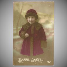 Vintage French Tinted Photo Postcard of Young Girl in Burgundy - Happy New Year