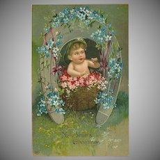Embossed Postcard of Baby and Horseshoe - New Year Greetings
