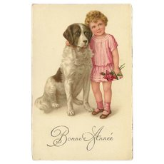 Vintage French New Year Postcard with Girl and St. Bernard Dog - Red Tag Sale Item