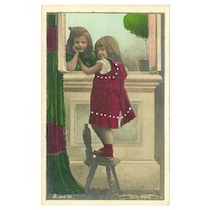 Undivided Rotophot Tinted Postcard of Two Young Girls