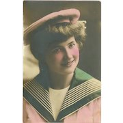 Tinted Photo Postcard of Lady in Sailor Outfit