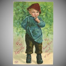 Embossed Vintage 1909 Valentine Postcard of Young Boy