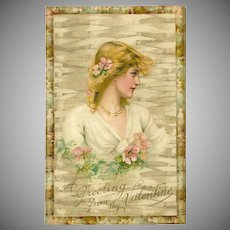 Undivided 1907 Postcard with Pretty Blonde