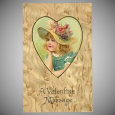 Undivided Embossed Valentine Postcard of Girl in Heart