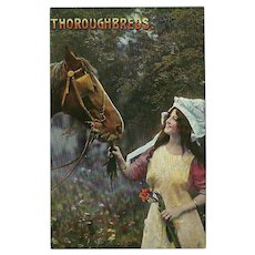 Samson Brothers Postcard of Lady with Horse - Thoroughbreds