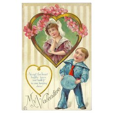 Embossed Valentine Postcard of Sailor Boy and Girl