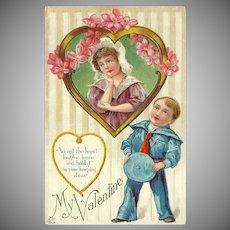 Embossed Valentine Postcard of Sailor Boy and Girl
