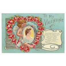 Embossed 1909 Valentine Postcard of Cherub with Lady