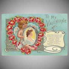 Embossed 1909 Valentine Postcard of Cherub with Lady