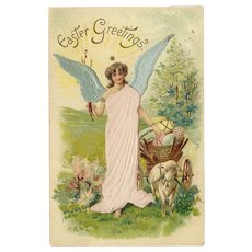 Silk Embellished Embossed Postcard Easter Greetings - Angel with Lamb