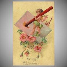 Embossed PFB Valentine Postcard with Cherub
