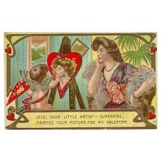 Embossed 1910 Valentine Postcard of Cherub Artist
