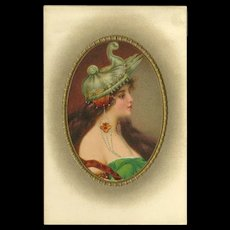Vintage Postcard of Art Nouveau Style Woman with Jewelry - 2 of 2 - Red Tag Sale Item