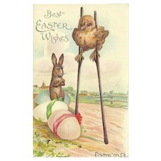 Undivided Embossed Easter Postcard with Chick on Stilts