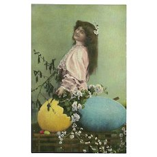 Vintage Photo Postcard of Beautiful Lady with Easter Eggs