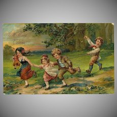 PFB Embossed Postcard of Four Children Playing Horse Dated 1907