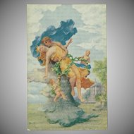 Romantic Artist Signed Postcard of Man, Woman and Cherubs