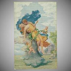 Romantic Artist Signed Postcard of Man, Woman and Cherubs