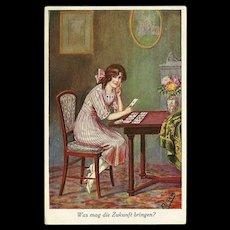 Vintage Artist Signed German Postcard of Lady Reading her Fortune