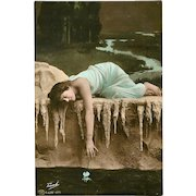 Tinted Rotophot Postcard of Lady by Traut - 1 of 2