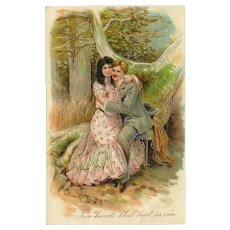 Embossed 1908 PFB Postcard of Romantic Couple with Gold Highlights