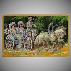 Embossed German Postcard of Ladies in Horse Drawn Carriage