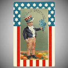 Vintage Embossed July 4th Greetings Postcard