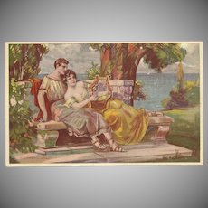 Vintage Postcard by T. Corbella of Greek or Roman Couple with Lyre