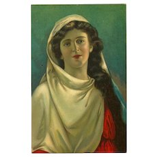 Vintage German Postcard Depicting Maria from the Passion Play