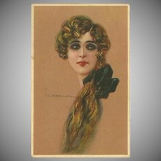 Vintage Postcard of Beautiful Long Haired Lady by Corbella - 1 of 2