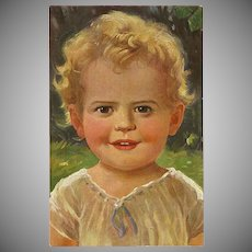 Vintage Postcard 1920's of Young Smiling Child