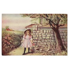 Undivided Postcard of Young Girl Watching for Papa