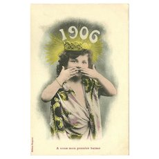 French Tinted Photo Postcard with Young Girl Throwing Kiss - New Year 1906