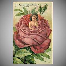 Embossed Vintage Happy Birthday Postcard of Girl Inside Red Rose